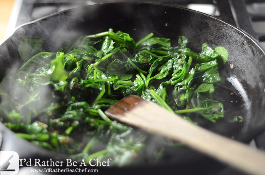 shallots, bacon and sauteed spinach with bacon fat