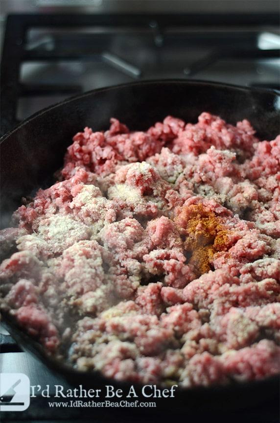 seasoned ground beef with garlic, onion, cumin and cayenne