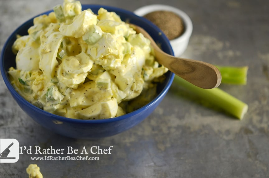 Egg Salad Recipe in a Blue Bowl