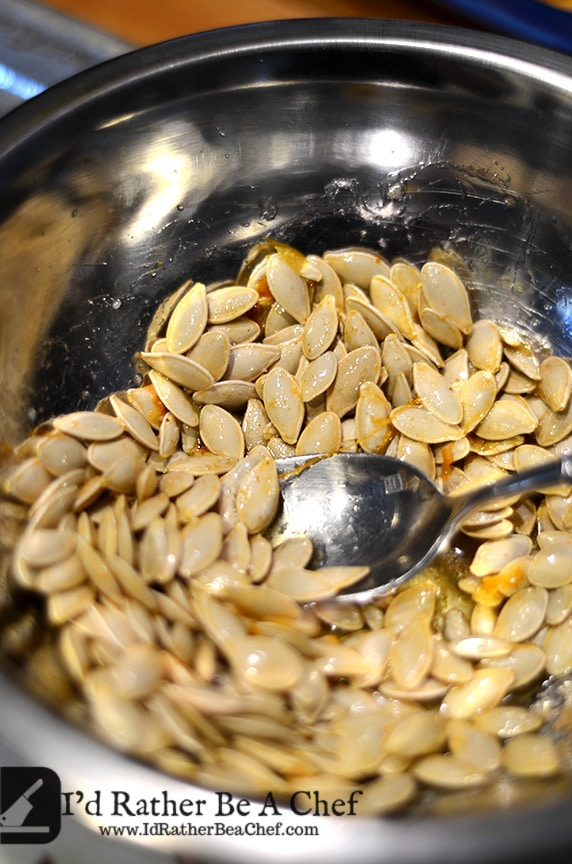 seeds ready to become butter roasted pumpkin seeds